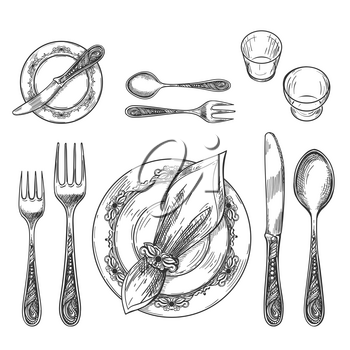 Table setting drawing. Hand drawing dinnerware with napkin in ring and plate, decorative fork and knife sketch and glass on table for etiquette formal restaurant dining setting, vector illustration