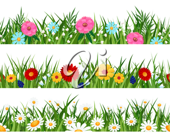 Spring flowers lawn patterns. Simple flower plants borders, planting garden grass meadow on white horizontal seamless backgrounds
