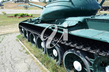 Museum copy of the tank. Monument armored technique. Military Hill Museum.