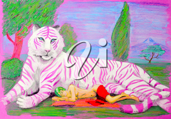 Painting gouache. Pink tiger lying on the grass next to him lies and sleeps naked girl.