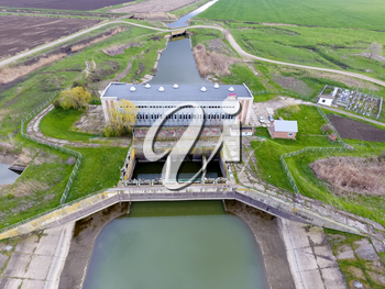 Water pumping station of irrigation system of rice fields. View from above.