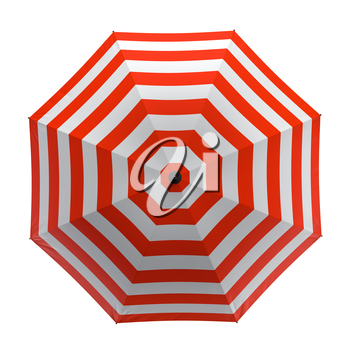 Summer beach red umbrella isolated on white background. 3D illustration