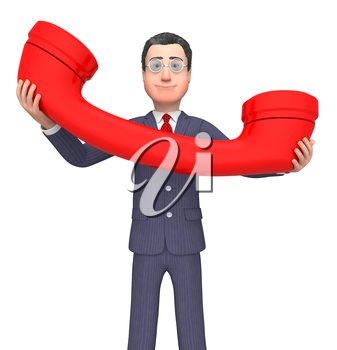 Calling Phone Showing Business Person And Communicating 3d Rendering