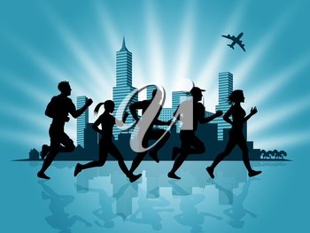 Jogging City Meaning Get Fit And Exercise