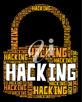 Hacking Lock Showing Malware Wordcloud And Spyware
