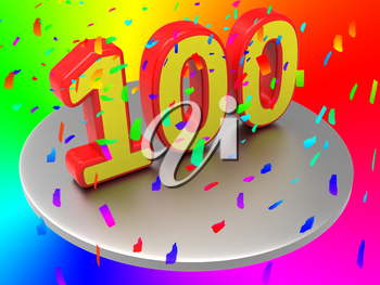 One Hundredth Indicating Happy Anniversary And Party