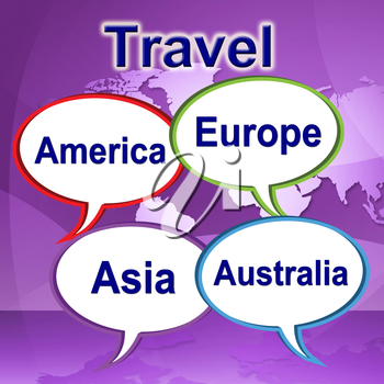 Travel Words Showing Explore Expedition And Tours