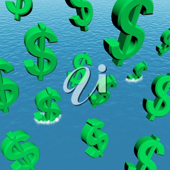 Dollars Falling In The Ocean Showing Depression Recession And Economic Downturns
