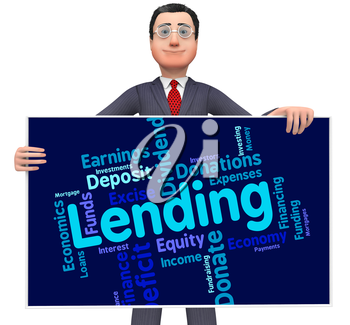 Lending Word Representing Bank Loan And Loaning