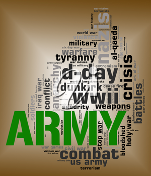 Army Word Representing Armed Services And Fights