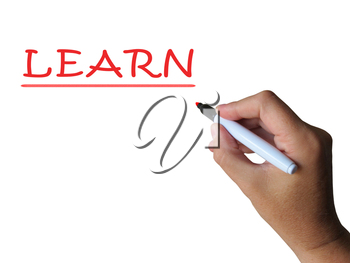 Learn On Whiteboard Showing Hard Study Training Or Teaching