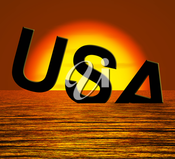 Usa Word Sinking As Symbol for Americas Problems