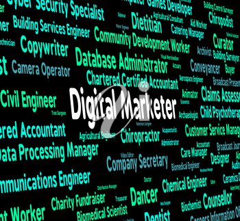 Digital Marketer Representing Electronic Computer And Marketers