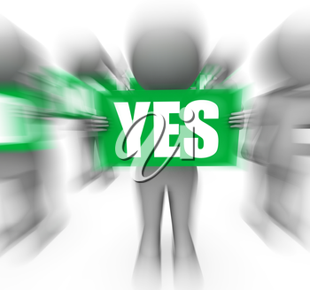 Characters Holding No Yes Signs Displaying Uncertain Undecided Or Confused