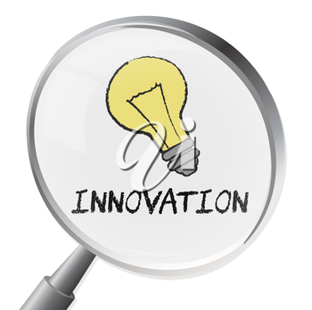 Innovation Magnifier Showing Innovate Revolution And Searching