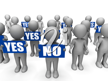 Characters Holding Yes No Signs Meaning Uncertain Decisions And Answers