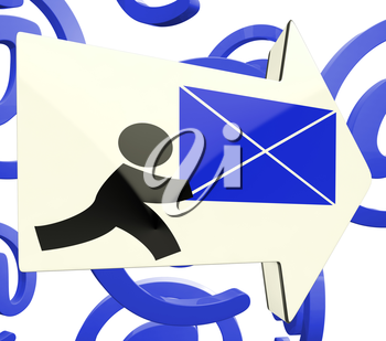 Delivering Mail Arrow On At Background Showing Online Delivery Or Email Post