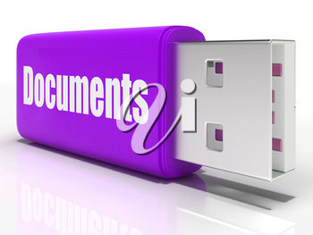 Documents Pen drive Showing Digital Information Documents And Files