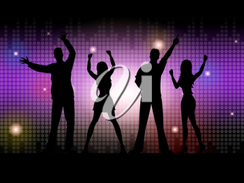 People Silhouette Representing Disco Dancing And Dance