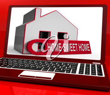 Home Sweet Home House Laptop Showing Comforts And Family