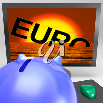 Euro Sinking On Monitor Shows Financial Risk Or Decrease