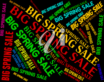 Big Spring Sale Indicating Bargains Discounts And Text