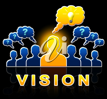 Vision People Shows Corporate Planning And Objectives 3d Illustration