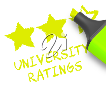 University Ratings Stars Displays Performance Report 3d Illustration