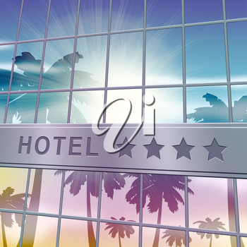 Hotel Lodging Facade Showing Holiday Vacation 3d Illustration
