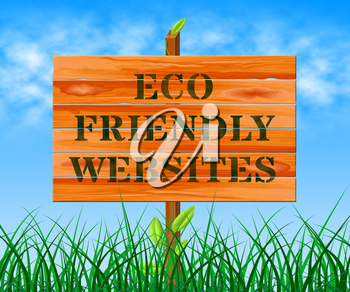 Eco Friendly Websites Sign Means Green Sites 3d Illustration