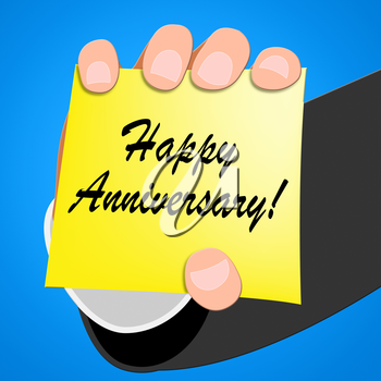 Happy Anniversary Means Greeting Congratulating 3d Illustration