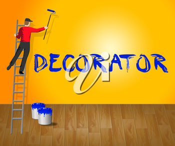 Home Decorator Showing House Painting 3d Illustration
