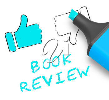 Book Review Thumbs Up Displays Reviewing Fiction 3d Illustration