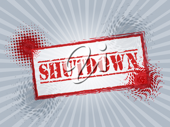 Government Shutdown Stamp Means America Closed By Senate Or President. Washington DC Closed United States