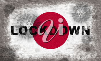 Japan lockdown stopping ncov epidemic or outbreak. Covid 19 Japanese ban to isolate disease infection - 3d Illustration