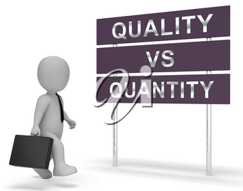 Quality Vs Quantity Signpost Depicting Balance Between Product Or Service Superiority Or Production. Value Versus Volume - 3d Illustration