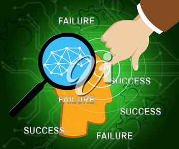Success Vs Failure Concept Words Depicts Achievement Versus Problems. Positive Or Negative Thinking And Learning From Mistakes - 3d Illustration