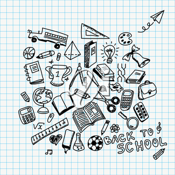 Back to school vector illustration with hand drawn school supplies doodles