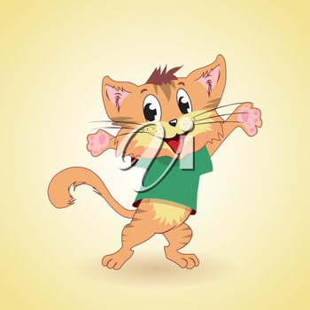 Happy cartoon cat in welcoming pose, vector illustration