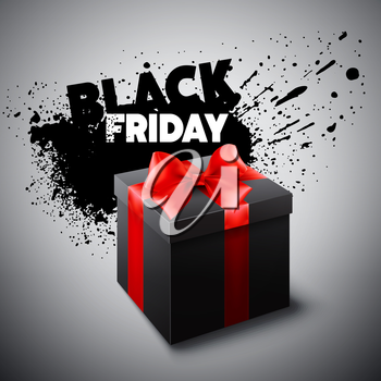 Black Friday gift box. Vector illustration