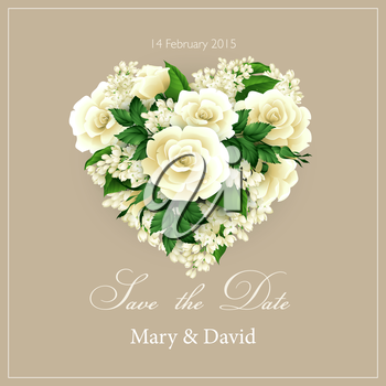 Wedding invitation with a heart of flowers. Vector illustration