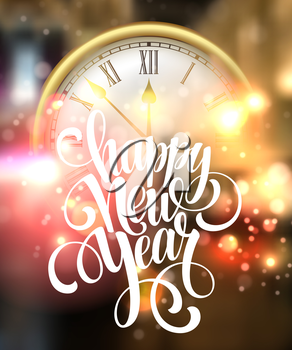 Vector 2016 Happy New Year background with clock. Vector illustration EPS10