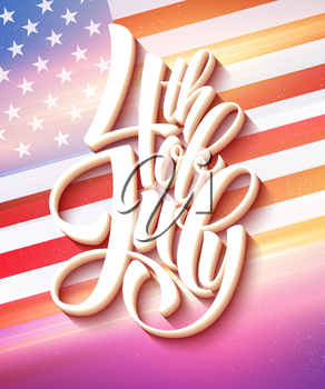 American Flag for Independence Day. Vector illustration. EPS 10