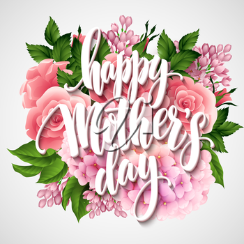 Happy Mothers Day Lettering card. Greetimng card with flower. Vector illustration EPS 10