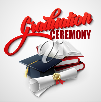 Graduation Ceremony. Book, hat and certificate. Vector illustration EPS 10
