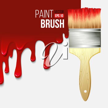 Paintbrushes with dripping paint. Vector illustration EPS 10