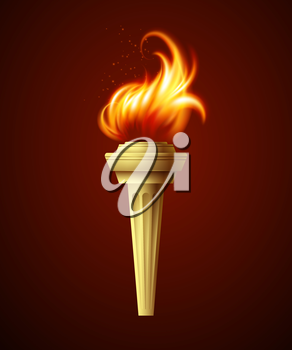 Realistic fire torch. Vector illustration EPS 10