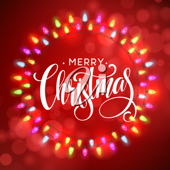 Glowing Lights Wreath for Xmas Holiday Greeting Cards Design. Merry Christmas Lettering label. Vector illustration EPS10