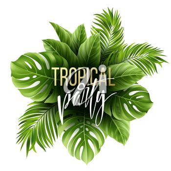 Summer tropical leaf background with exotic palm leaves. Party flyer template. Handwriting lettering. Vector illustration EPS10