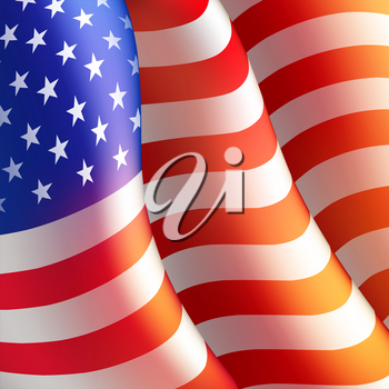 Fourth of July Independence Day poster or card template with american flag. Vector illustration EPS10